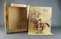 starlux___moyen_age___serie_64___ref_6118_bis___cavalier_seigneur_oriflamme_cheval_galop_brun_neuf_boite_1a