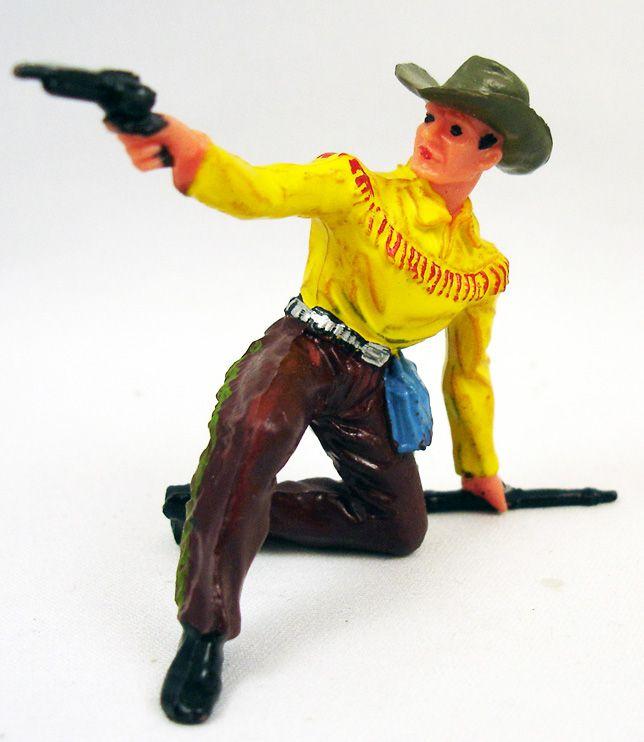elastolin___cow_boys___pieton_a_genoux_fusil_au_sol_tire_pistolet_jaune___marron_neuf_en_boite