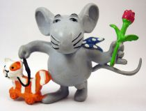 Alex (Philipp die Maus) - Comics Spain pvc figure 1988 - Alex with rose and cat-on-wheels toy