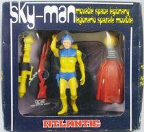 Atlantic Galaxy série Sky-Man (corps jaune, armure bleue, cape rouge)
