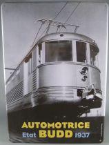 Atlas Metal Wall Sign Automotrice Etat Budd 1937 20 x 29 cm