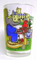 Babar - Amora Mustard Glass - Babar drives mower in the park
