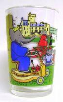Babar - Amora Mustard Glass - Babar drives mower in the park