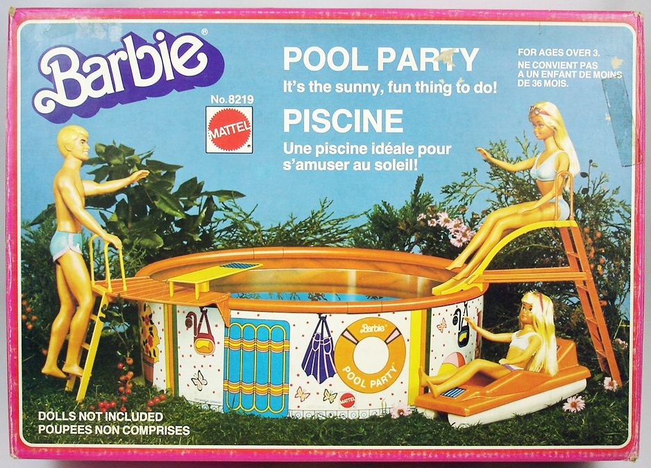 Barbie 39 s pool party mattel 1980 for Barbie chien piscine