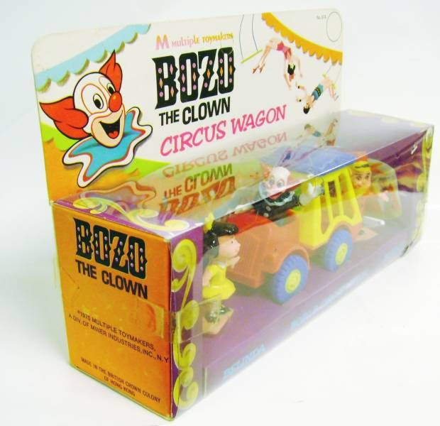Bozo le Clown - Circus Wagon - Plastic Vehicle - Multiple Toymakers 1970