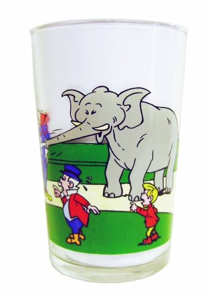 Bozo the Clown - Mustard glass - Bozo and the elephant