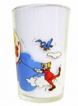 Bozo the Clown - Mustard glass - Bozo flies away