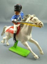Britains Deetail Waterloo British Mounted Blue Hussard charging looking on right