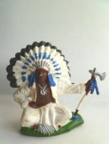 Britains Herald - Indian - Footed seated Chief (blue & white) (ref ?)