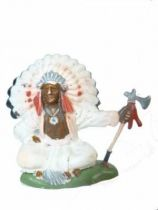 Britains Herald - Indian - Footed seated Chief (red & white) (ref ?)