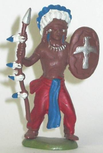 Britains Herald - Indian - Footed Standing with spear and shield (ref 500)