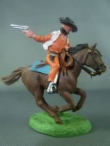 Britains Hong Kong - Cowboy - Cavalier Bandit masqué orange cheval brun galop court