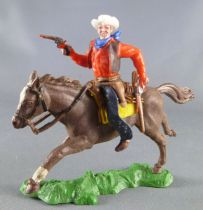 Britains Swoppets Cowboy Mounted with 2 pistols red shirt (ref 633)