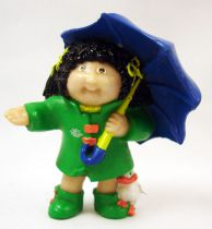 Cabbage Patch Kids - PVC Figure 1984 - Brunette girl in raincoat with umbrella
