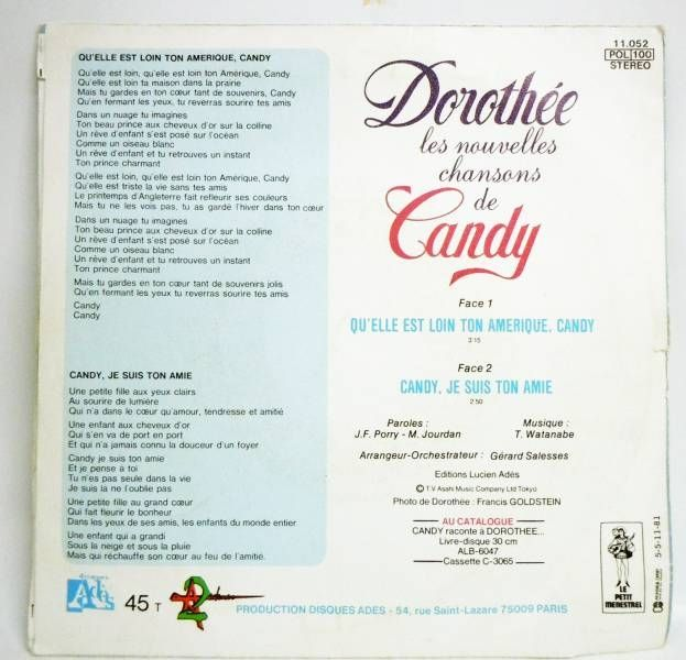 Candy Candy - Record 45s - New TV serie\'s theme by Dorothée - Ades Records