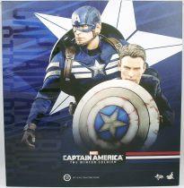 "Captain America The Winter Soldier - Cap & Steve Rogers (Chris Evans) 12\"" figures - Hot Toys Sideshow MMS 243"