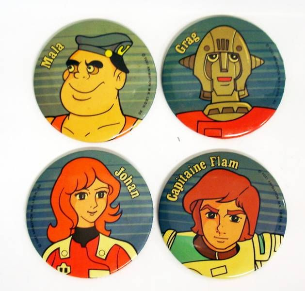 Captain Future - Vintage Buttons - Capitaine Flam, Grag, Mala, Johan
