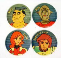 Captain Future - Vintage Buttons - Capitaine Flam, Grag, Mala, Johan