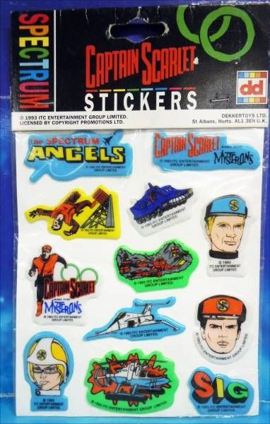 Captain Scarlet - Dekkertoys - Set of  10 Stickers
