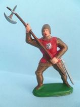 Clairet - Middle-Age - Footed advancing trooper (red) with halberd