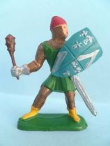 Clairet - Middle-Age - Footed defending trooper (green) with mace & shield