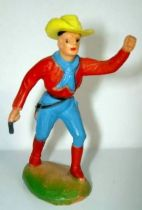 Clairet - wild west - cow boy 1st series - footed advancing two guns left arm up (red & blue)