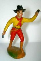 Clairet - wild west - cow boy 1st series - footed advancing two guns left arm up (red & yellow)