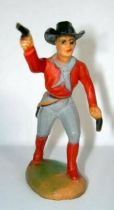 Clairet - wild west - cow boy 1st series - footed advancing two guns right arm up (grey & red)