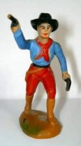 Clairet - wild west - cow boy 1st series - footed advancing two guns right arm up (red & blue)