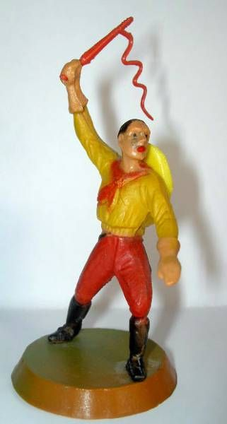 Clairet - wild west - cow boy 1st series - footed with whip (red & yellow - yellow hat)