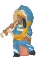 Clairet - wild west - indian 1st series - footed chief seated smoking pipe (blue dress)
