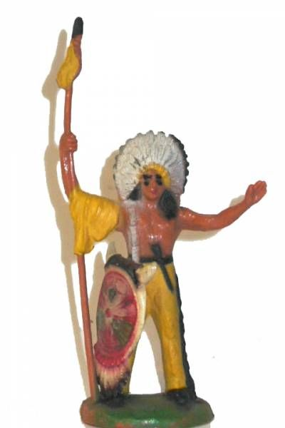 Clairet - wild west - indian 1st series - footed chief with spear & shield (yellow pants)