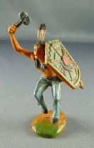 Clairet - wild west - indian 1st series - footed dancing tomahawk & shield (molded weapon) (blue)