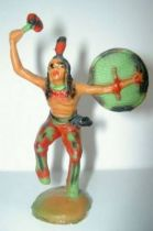 Clairet - wild west - indian 1st series - footed dancing tomahawk & shield (molded weapon) (red & green)