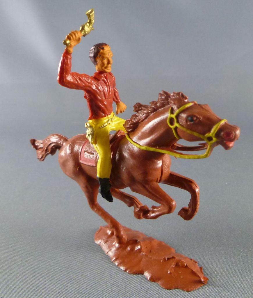 Cofalu - 54mm - Western - Cow-Boy Cavalier brandissant révolver cheval marron