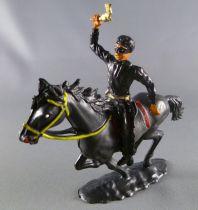 Cofalu - 54mm - Western - Cow-Boy Cavalier noir masqué (Zorro) brandissant révolver
