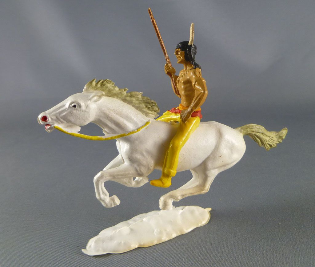 Cofalu - 54mm - Western - Indien Cavalier fusil main droite cheval blanc