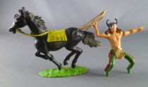 Cofalu - 54mm - Western - Indien Cavalier sorcier avec arc cheval noir