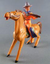Cyrnos - Far-West - Cow-Boys Cavalier tireur fusil  chapeau rond cheval marron jambe avant raidies selle verte