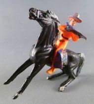 Cyrnos - Far-West - Cow-Boys Cavalier tireur fusil  chapeau rond cheval noir jambe avant raidies selle à franges