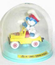 Die-Cast vehicule Guisval (Ref 2001) Mint in Box PaPa Smurf yellow jeep