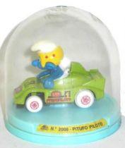 Die-Cast vehicule Guisval (Ref 2008) Mint in Box Smurf green race car