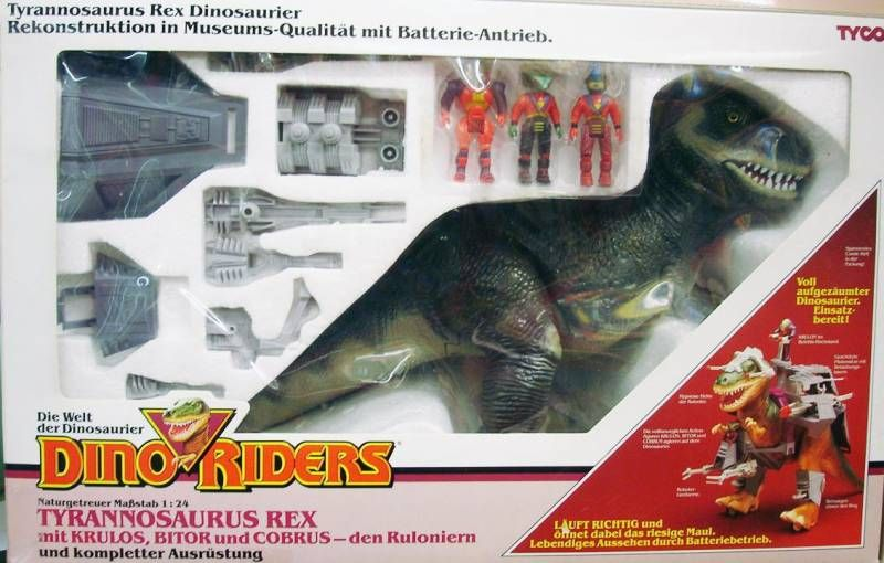 Dino Riders - Tyrannosaurus Rex with Krulos, Bitor & Cobrus - Tyco Germany