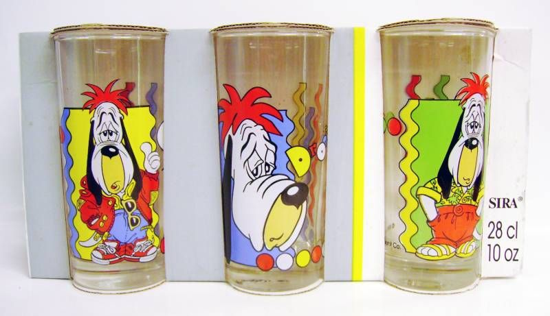 Droopy - Saint-Gobain 1994 - Set of 3 \\\'\\\'long drink\\\'\\\' glasses