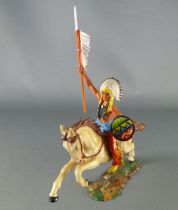 Elastolin - Iindians - Mounted chief brandisihing spear (ref 6854)