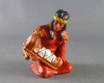 Elastolin - Indians - Footed squaw seated with baby (ref 6833)
