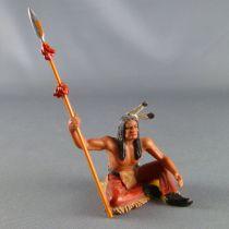 Elastolin - Indiens - Piéton assis avec lance (réf 6835)