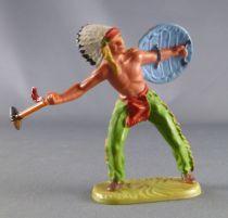 Elastolin - Indiens - Piéton bras écartrés bouclier & hache en pierre (réf 6822)