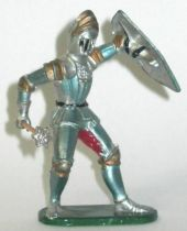 Elastolin - Middle age - Footed Trooper in armour (yellow shield) fighting with masse (ref  8932)