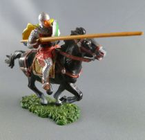 Elastolin - Middle age - Mounted striking with lance cape rond shield black horse (ref 8867)